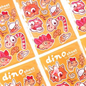 DINOSAURIOS pegatinas, kongonaphon, dilophosaurio, diplodocus- DINO StickerSheet