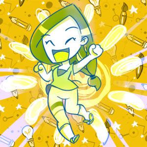 YellowDay_ilustración, pinceles, lapices, mi autoretratoCHIBI muy alegre ...emprendiendo!!